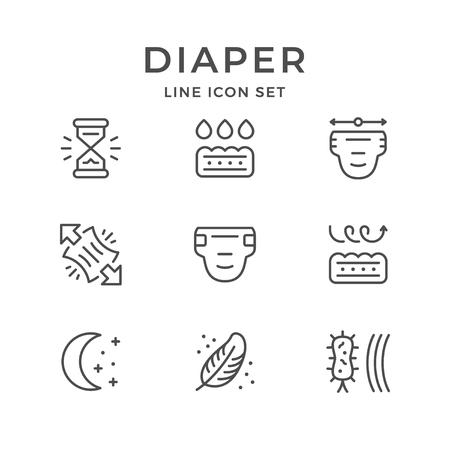 Illustration pour Set line icons of diaper isolated on white. Vector illustration - image libre de droit