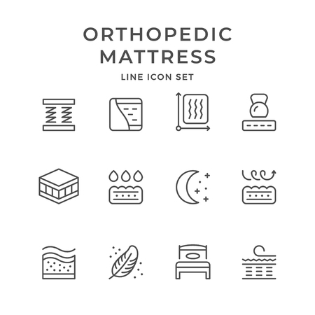 Illustration pour Set line icons of orthopedic mattress isolated on white. Vector illustration - image libre de droit
