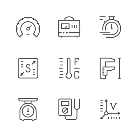 Illustration for Set line icons of measurement isolated on white. Vector illustration - Royalty Free Image