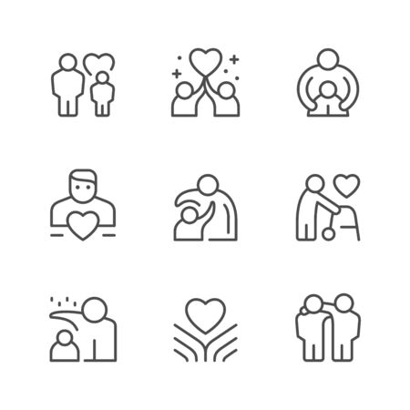 Illustration for Set line icons of care and support isolated on white. Vector illustration - Royalty Free Image