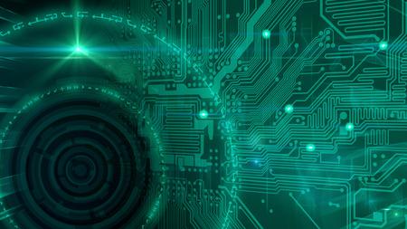 Foto de An abstract image with circuit board and concentric circles, representing technology. - Imagen libre de derechos