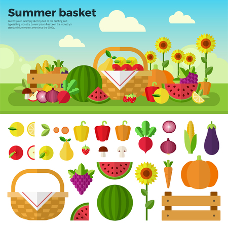 Summer basket flat illustrations. Basket with fresh fruits and vegetables on the summer meadow. Healthy eating concept. Fruits, vegetables, sunflower isolated on white background