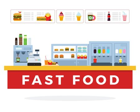 Illustration pour Fast Food market vector flat material design isolated on white - image libre de droit