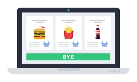 Illustration pour Laptop screen with website, food delivery application Drone delivery vector icon flat isolated. - image libre de droit