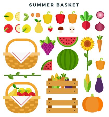Foto für Summer basket with fresh fruits and vegetables. Healthy eating concept. Fruits, vegetables, sunflower, isolated on white background. Vector flat illustration. - Lizenzfreies Bild