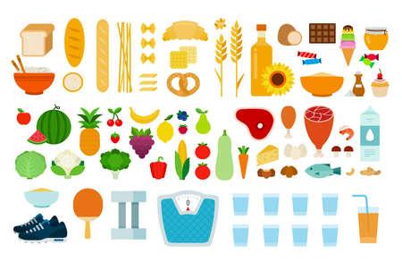 Illustration pour Set of Types of food icons flat vector - image libre de droit