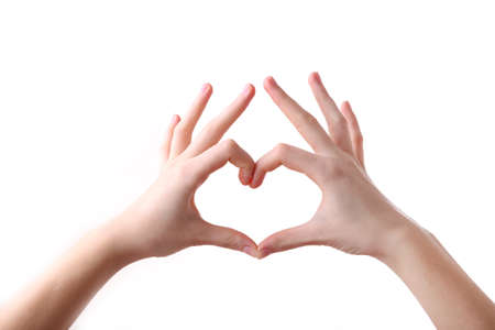 Photo for Female hands in heart shape isolated on a white background - Royalty Free Image