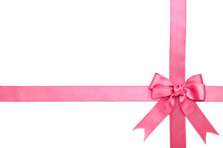 Photo for Pink ribbon with bow isolated on a white background. Top view. - Royalty Free Image
