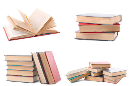 Photo for Collection of different retro books on white background. Set of old books isolated. Top view - Royalty Free Image