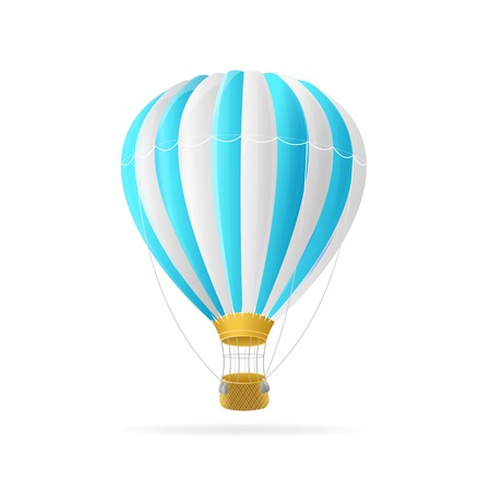 Vector white and blue hot air ballon isolated on white background