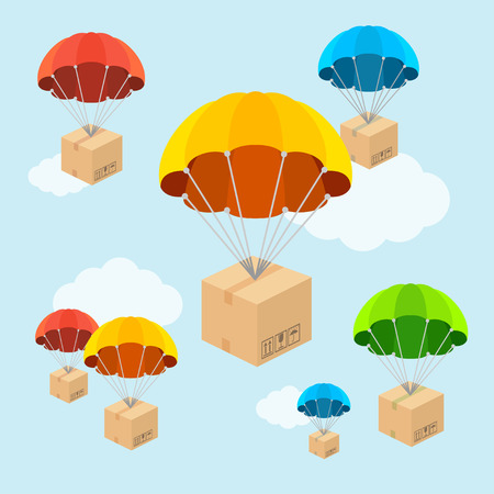Vector illustration. Parachute fly with clouds. Delivery concept. Flat Design