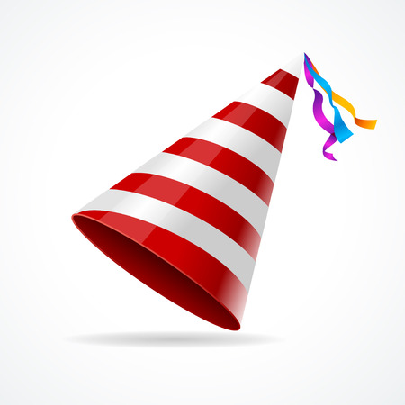 Vector striped party hat isolated on a white background.