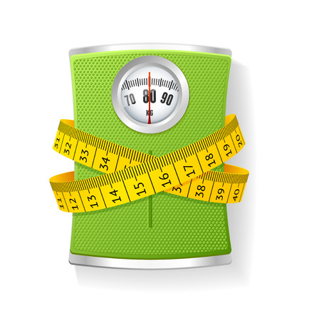 Ilustración de Vector Illustration Weights and tape measure. The concept of weight loss and health care - Imagen libre de derechos