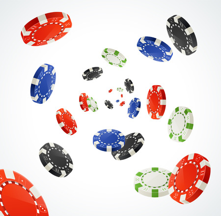 Vector illustration Pocker Chips Rain Winner Concept isolated on white. Gambling Chips for your designs
