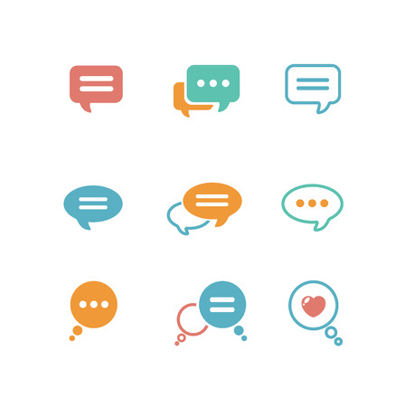 Foto de Vector illustration Speech bubble icon set on white background isolated. Flat design style - Imagen libre de derechos