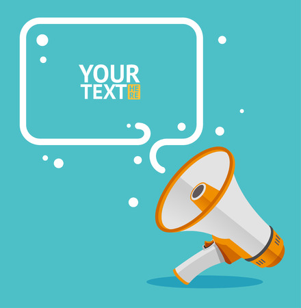 Megaphone text bubble card with place for text