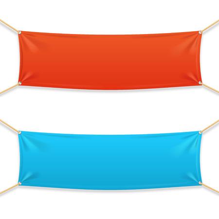 Illustration pour Fabric Rectangular Horizontal Banner with Ropes. Vector illustration - image libre de droit