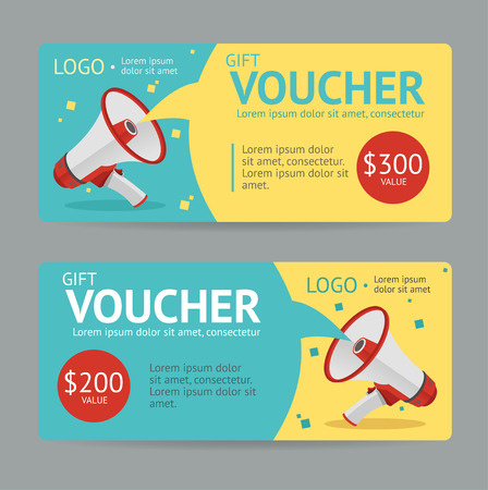 Ilustración de Gift Voucher Template. The announcement of the winning. Vector illustration - Imagen libre de derechos