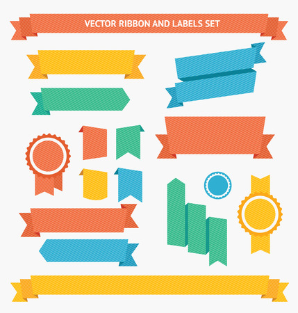 Ribbon and Labels Set. Flat Design. Vector illustration
