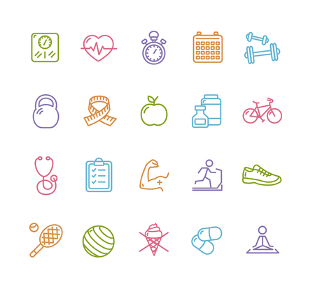 Ilustración de Fytness Health Colorful Outline Icon Set. Vector illustration - Imagen libre de derechos