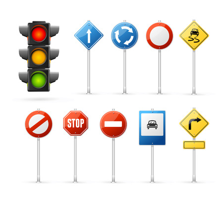 Illustration for Traffic Light and Road Sign Set. - Royalty Free Image