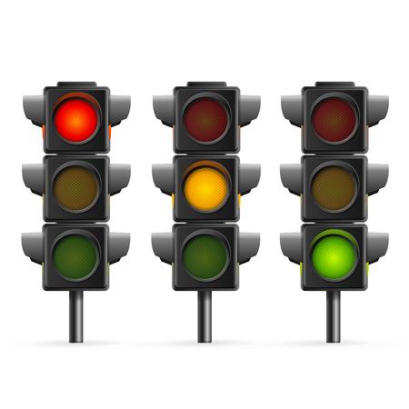 Illustration pour Traffic Light Sequence on White Background. - image libre de droit