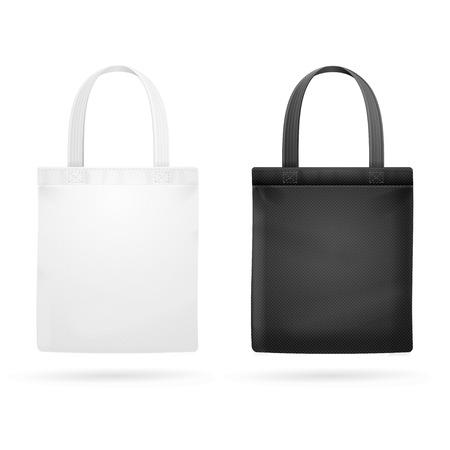 Illustration pour White and Black Fabric Cloth Bag Tote. Vector illustration - image libre de droit