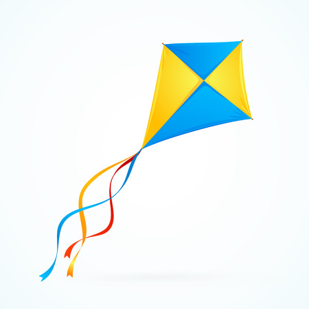 Illustration pour Colorful Kite on White Background. Toy Isolated. Vector illustration - image libre de droit