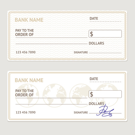 Bank Check Template Set. Blank Form with Sample Signatures. Vector illustration
