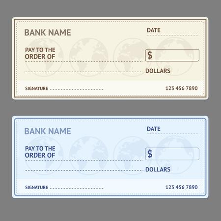 Illustration pour Bank Check Template Set with World Map on Grey Background. Vector illustration - image libre de droit