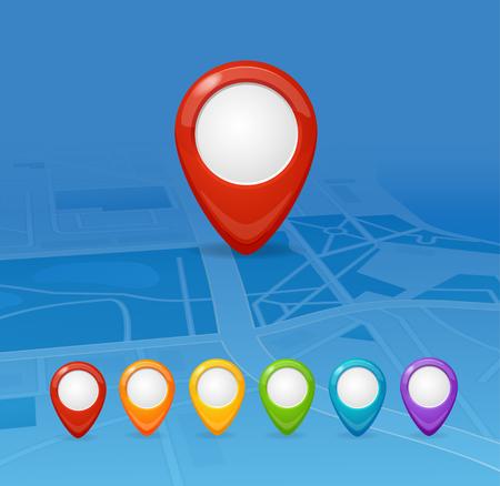 Illustration pour Maps and Colorful Pin Set Navigation. Vector illustration - image libre de droit