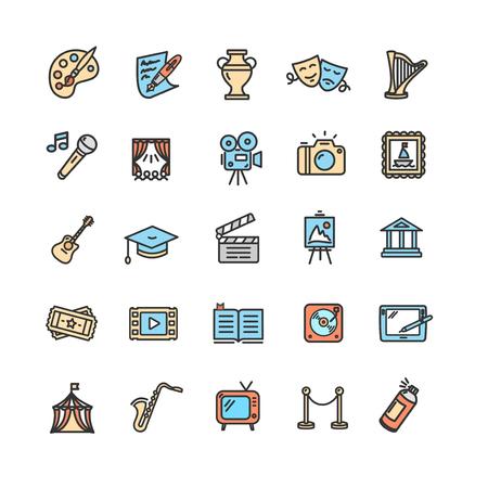 Illustration pour Culture and Creative Fine Art Icons Set. Vector - image libre de droit