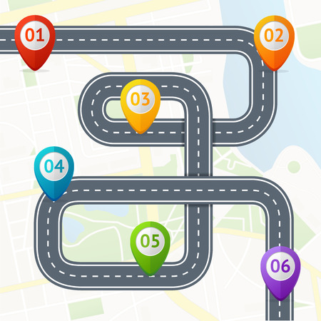 Illustration for Road Infographic with Location Mark Elements. Vector - Royalty Free Image
