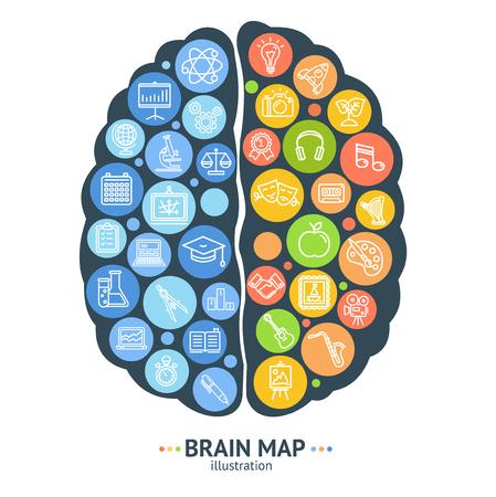 Illustration pour Human Brain Map Concept Left and Right Hemisphere. Vector - image libre de droit
