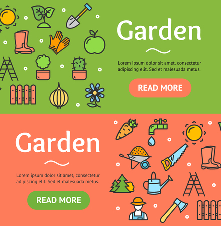 Gardening Banner Horizontal Set Vector Royalty Free Vector Graphics