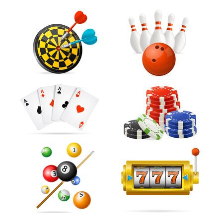 Illustration pour Realistic Detailed 3d Casino Sport and Leisure Games Icon Set. Vector - image libre de droit