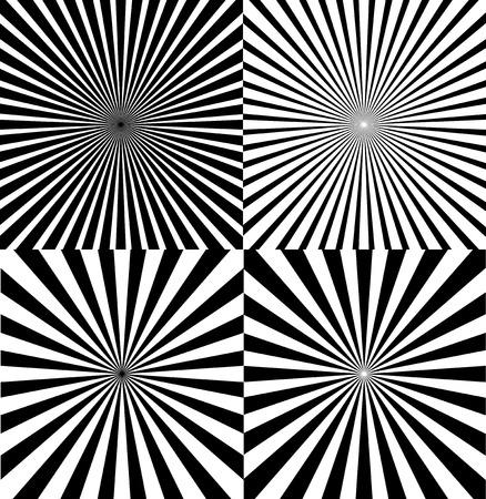 Black And White Ray Star Burst Abstract Background Set Retro Style. Vector illustration of Sunburst Radial Pattern