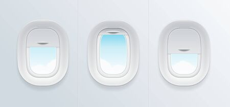 Illustration for Realistic Detailed 3d Airplane Window with Blue Sky View Set. - Royalty Free Image