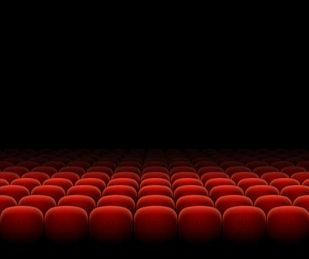 Illustration for Cinema Theater Red Seats Row Set on a Dark. Vector - Royalty Free Image