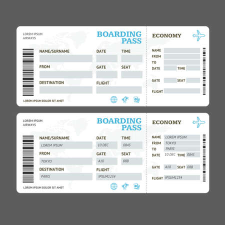 Illustration for Realistic Detailed 3d Air Tickets Template Set. Vector - Royalty Free Image