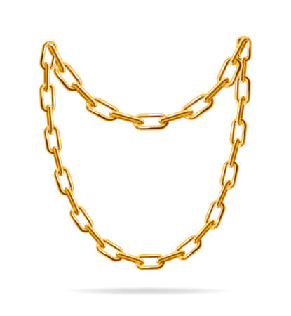Illustration for Realistic Detailed 3d Gold Chain Set. Vector - Royalty Free Image