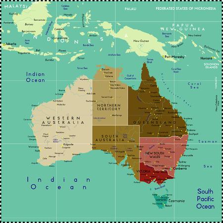 Vektor für Australia map. - Lizenzfreies Bild