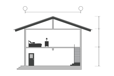 Illustration pour Cross section of silhouette modern house building with blank inside room, vector illustration - image libre de droit