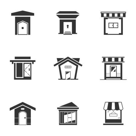 Illustration pour Set of black and white bungalow icon. Monochrome shop building. House modern style, vector illustration - image libre de droit