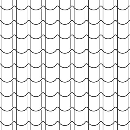 Illustration pour Abstract seamless fish scale pattern, black and white tile roof asian style. Design geometric texture for print. Linear style, vector illustration - image libre de droit