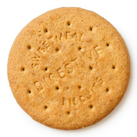 Round sweetmeal digestive biscuit isolated from above.