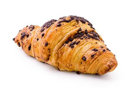 Foto de Croissant with chocolate chip topping isolated on white. - Imagen libre de derechos