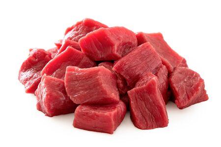 Photo pour Pile of beef cubes isolated on white. - image libre de droit