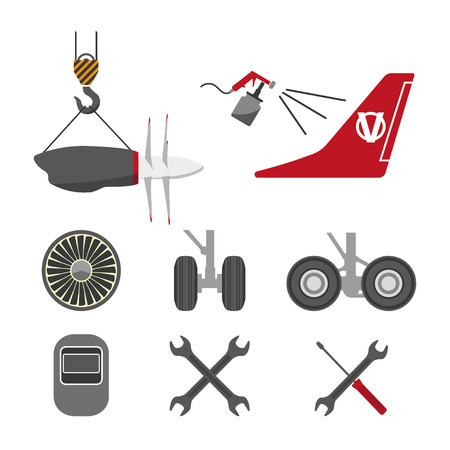 Illustration pour Set of aircraft parts on white background. Flat vector icons set. Aircraft repair. Vector illustration - image libre de droit