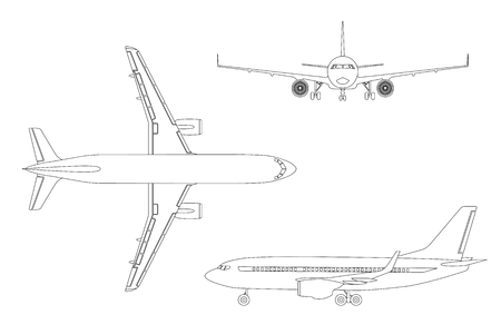 Ilustración de Outline drawing plane in a flat style on a white background. Top view, front view, side view. Vector illustration - Imagen libre de derechos